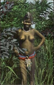 Africa Native Nude Black Woman Fille de la Foret Tinted RPPC Ethnography