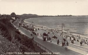 Promenade Looking West, Colwyn Bay, Wales, Great Britain, Early Postcard, Unused