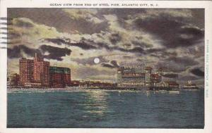New Jersey Atlantic City Ocean View From End Of Steel Pier 1932