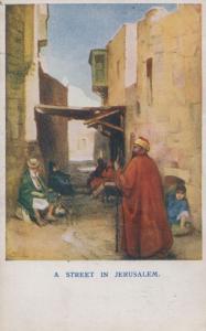 Jerusalem Scripture Gift Mission Antique 1909 Street View Old Postcard