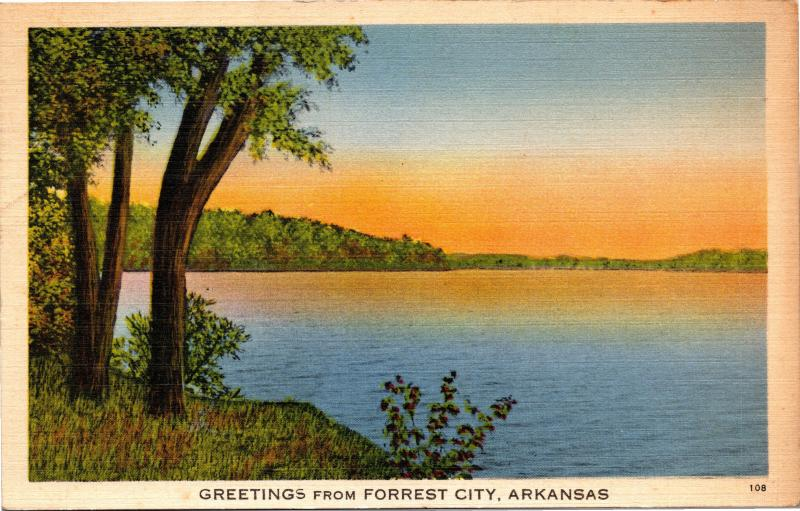 Greetings from Forrest City Arkansas Vintage Linen c1940 Postcard G12