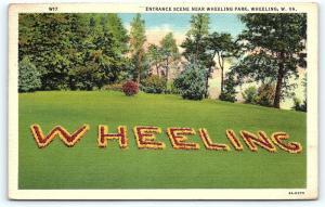 Postcard WV Wheeling Entrance Scene Near Wheeling Park Vintage Linen R02