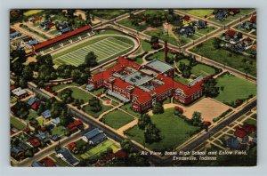 Evansville IN, Aerial View Of Bosse High School, Field, Linen Indiana Postcard