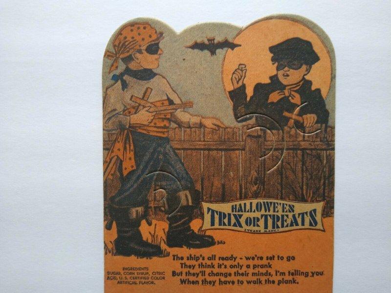 Halloween Boys Diecut Lollypop Candy Sucker Card E Rosen Original Unused Vintage