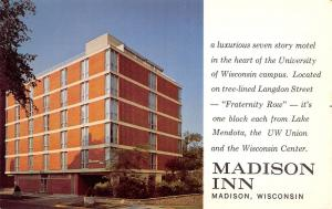 Madison Wisconsin~Madison Inn~1960 Postcard