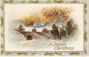 Wingter landscape. Figures in bridge Tuck Christmas Greetings PC # 519