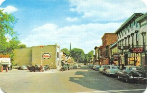 Boonville NY Main Street Esso Gas Station Old Cars Postcard