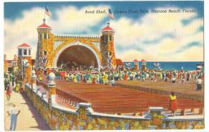 Band Shell, Ocean Front Park, Daytona Beach, Florida, unused linen Postcard