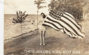 RP: Woman with USA Flag These Colors will not run , 1940s