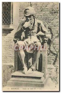 Old Postcard Bourges Statue of Louis XI