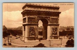 Paris France L'Arc De Triomphe Vintage Postcard