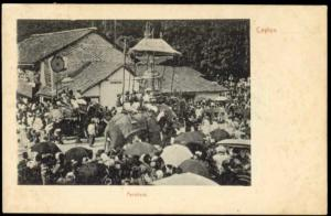 ceylon, PERAHARA, Procession with ELEPHANTS (1905)
