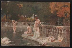 101749 Nude LEDA Nymph & White SWAN Lake by MENTZLER vintage