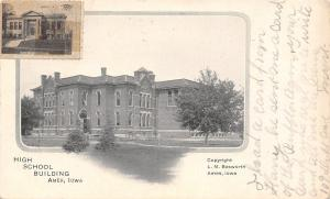 Ames Iowa~Vignette of High School~Library Stamp on Front~Bosworth Postcard c1906