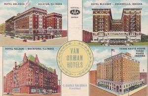 Indiana Van Orman Hotels Evansville Terre Haute & Decatur and Rockford Illino...