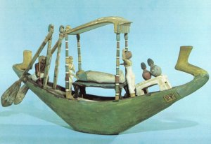 Egyptian Rare Painted Model Boat Abydos Osiris Voyage Postcard