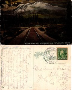 Mount Shasta by Moonlight Train Tracks Postcard Used (35755)