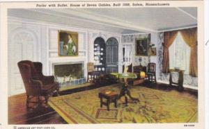 Massachusetts Salem Parlor With Buffet House Of The Seven Gables Built 1668 C...