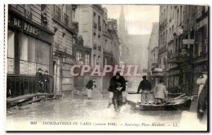 Old Postcard From Paris Rescue Floods Place Maubert