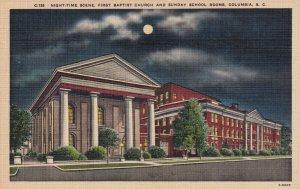 COLUMBIA, South Carolina, 30-40s; Night-Time Scene, First Baptist Church