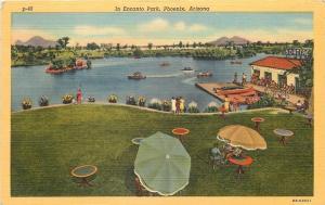 Phoenix Arizona~Encanto Park~Boat House~Patio Umbrella~1940 Postcard