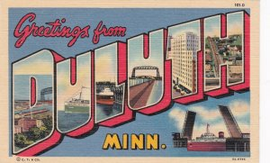 Minnesota Greetings From Duluth Large Letter Linen Curteich sk6956