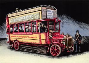 Bus Art Postcard, Tilling Stevens 46 Seat double Deck 1922 MN1880 Manx Buses 53S