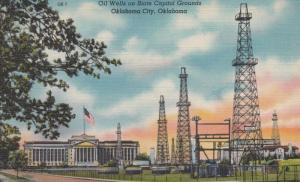 OKLAHOMA CITY , 30-40s ; Oil Wells on State Capitol Grounds