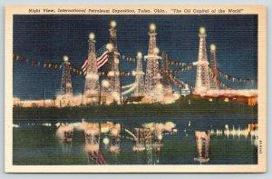 Tulsa Oklahoma~International Petroleum Exposition @ Night~Lights Reflected~1940s