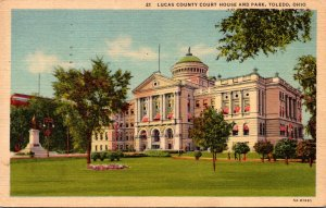 Ohio Toledo Lucas County Court House and Park 1957 Curteich