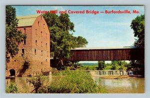 Burfordsville MO, Water Mill, Covered Bridge, Chrome Missouri Postcard