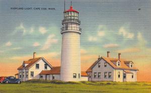Highland Light, Cape Cod, Massachusetts, Early Postcard, Unused
