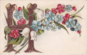 Letter Card H With Beautiful Flowers 1914