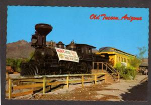 AZ MGM Movies Railroad train Engine Narrow Gauge Old Tucson Arizona Postcard