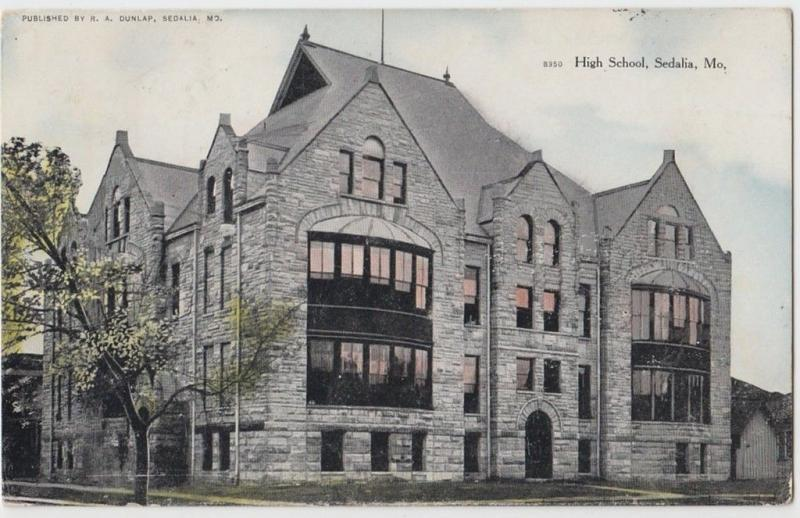 1908 SEDALIA Missouri MO Postcard HIGH SCHOOL Pettis County