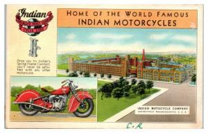 Home of the Indian Motorcycles, Springfield, MA Postcard