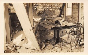 LP92 Pleasant Prairie Wisconsin Postcard RPPC Powder Explosion Dwelling Interior
