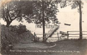 F36/ Spicer Minnesota RPPC Postcard 1921 Tepetonka Hotel Green Lake Boats