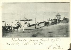india, BOMBAY, Apollo Bunder, Wellington Pier (1902) Court Card
