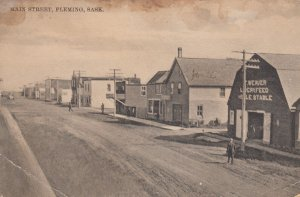 FLEMING , Sask. , Canada , 1900-10s; Main Street (Dirt), Livery/Feed Stable