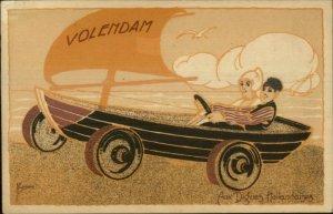 Art Deco Volendam Holland Dutch Windsail Dune Buggy Aux Digues Hollandaises