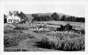 Bread Loaf-Ripton Vermont~The Garden by House~Stone Wall & Wooden Gate~1952 RPPC