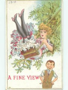 Pre-Linen Risque MAN LOOKS UP AT PRETTY GIRL ON SWING AB6012