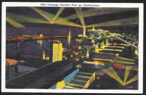 Chicago Worlds Fair 1933-1934 Fair at Night Chicago Illinois Unused c1933