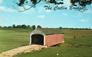 Parke County Golf Course, IN, Catlin Covered Bridge, Vintage Postcard g8325