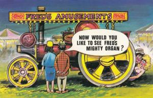 Circus Travelling Organ Transportation Old Fair Amusements Comic Humour Postcard