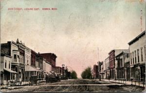 Homer Michigan~Main Street Looking East~Muddy Road~Wood Sidewalks~1911 Postcard