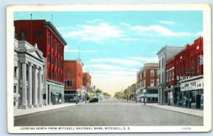 Mitchell SD Main Street View Unique Theatre Mitchell National Bank Postcard D40
