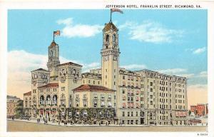 A54/ Richmond Virginia Va Postcard c1915 Jefferson Hotel Building