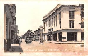 Panama Old Vintage Antique Post Card Bolivar Avenue Colon, Real Photo Unused
